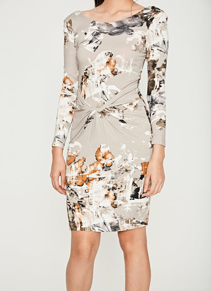 Grey Multi-Color Print Pattern Knotted Front Long Sleeve Dress