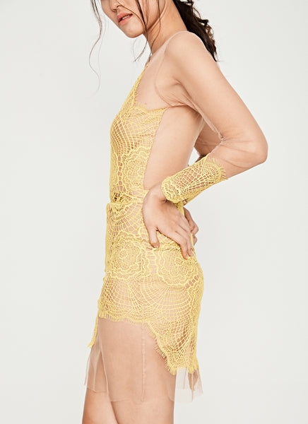 Antigua Mini Dress in Yellow
