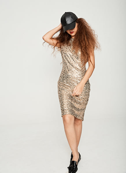 Shimmer Cowl Back Cocktail Dress