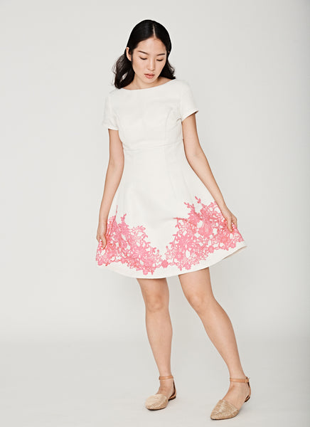 High Waisted Applique Dress