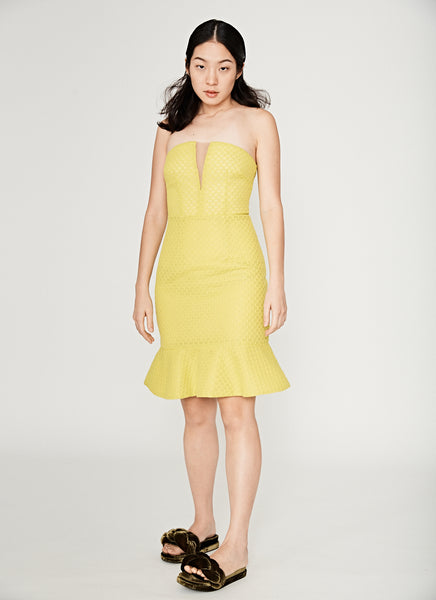 Honeycomb Fluted Dress in Neon Yellow