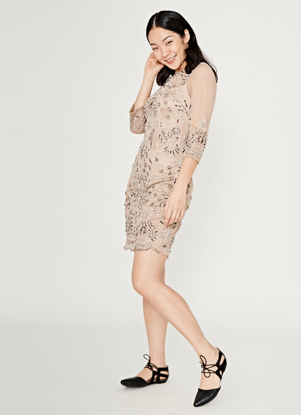 Taupe Stretch Embellished Sequin Dress