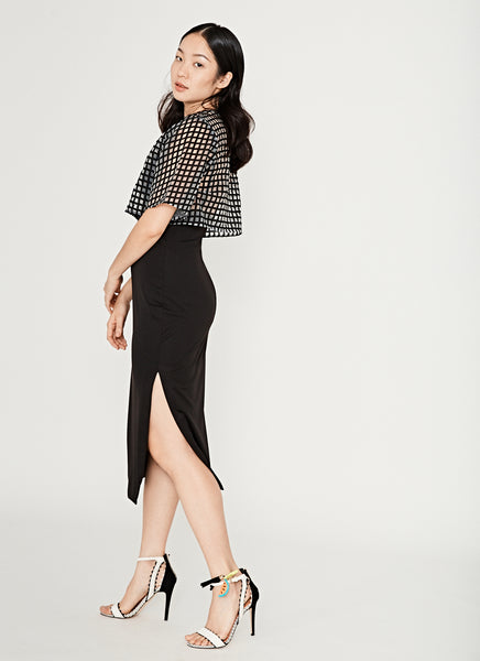 Yard Sheer Overlay Midi In Black