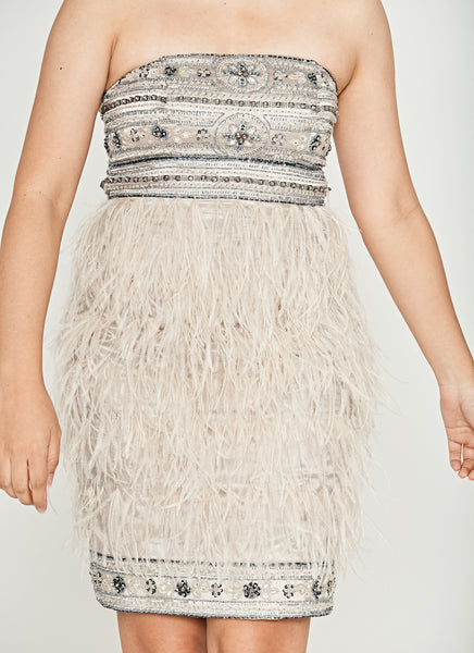 Platinum Grey Strapless Ostrich Feather Jeweled Dress