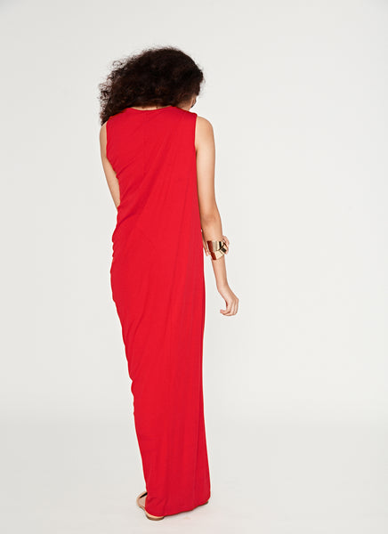 Red Asymmetrical Drape Gown