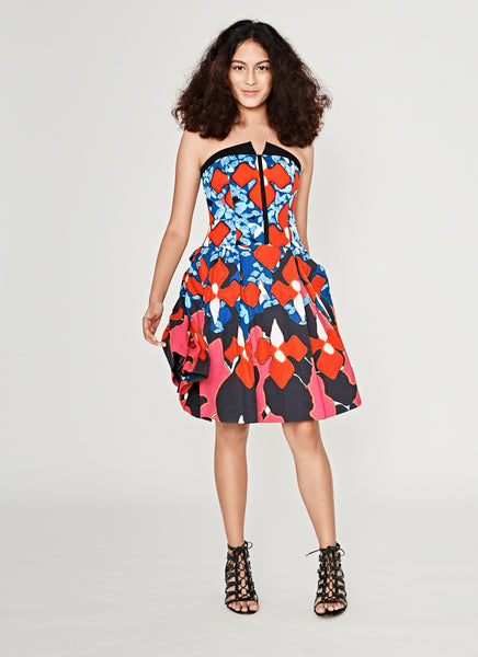 Printed Strapless Short Dress