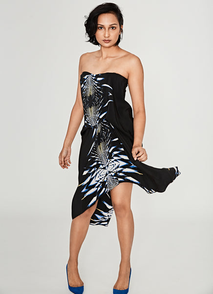 Printed Holographic Midi Dress