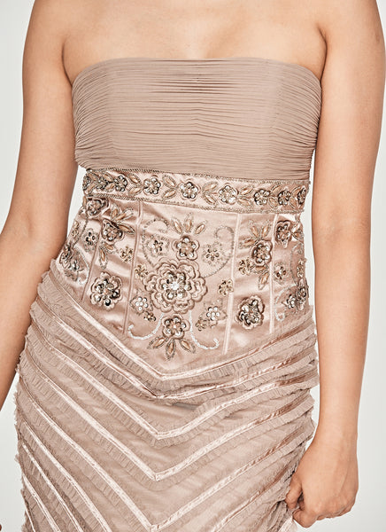 Taupe Ruched Detail Embellished Strapless Dress
