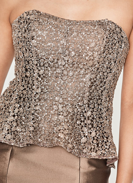 Strapless Sequined-Bodice Cocktail Dress