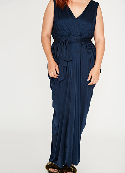 Grecian Maxi Dress (Navy)
