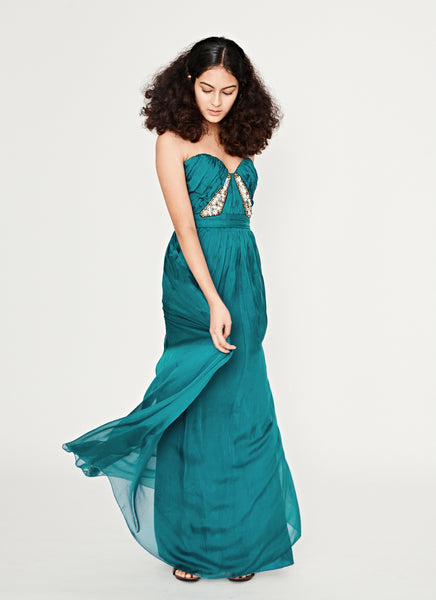 Teal Strapless Gown
