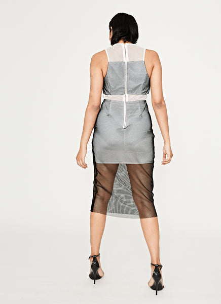 The Caged Spliced Midi Dress