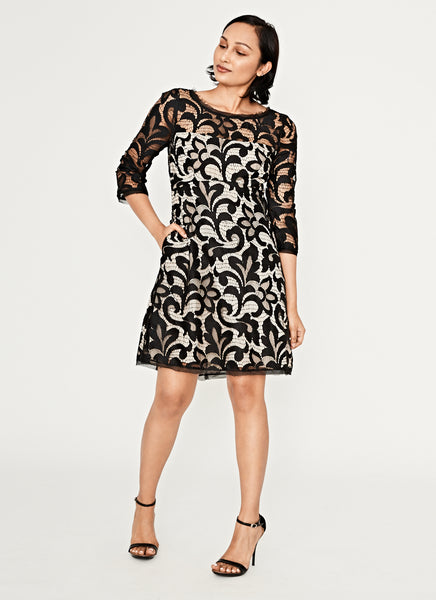 Black And Nude Stretch Lace 3/4 Sleeve Dress