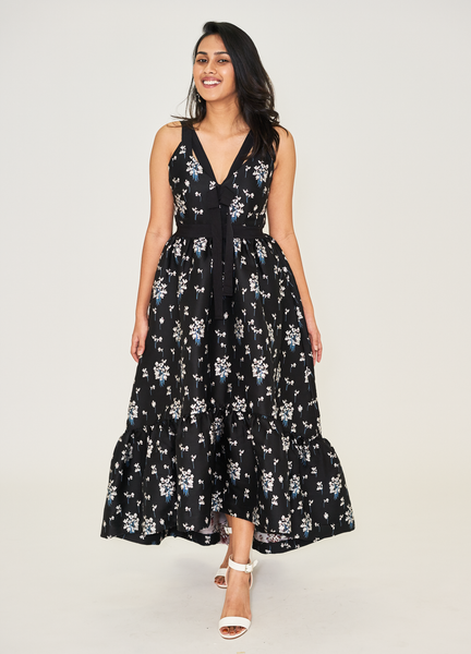 Jacquard-Patterned Long Dress