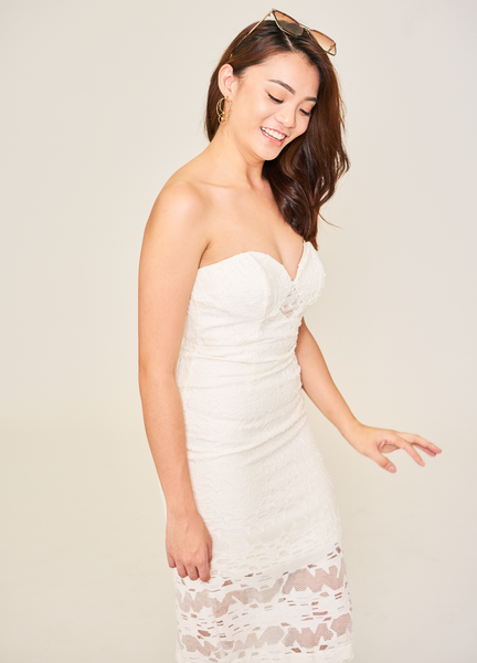 White Geometry Devoré Heart Shaped Neckline Dress