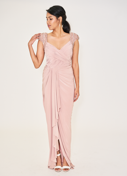 Pink Embellished Shoulder Gown