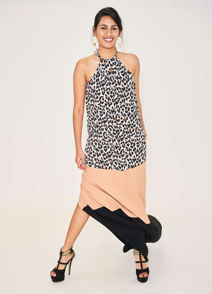 Leopard-Print Halter Colourblock Gown