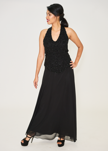 Black Embellished Popover Gown