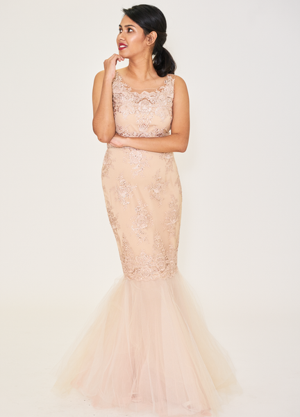 Illusion Neck Mermaid Tulle Gown