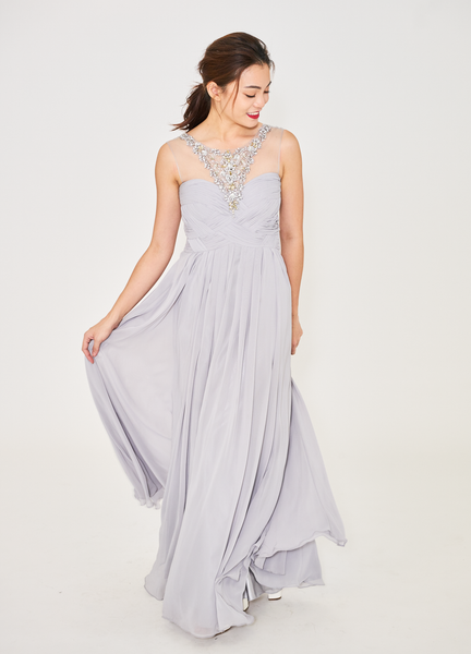 Sheer Statement Bejeweled Cap Sleeve Evening Dress