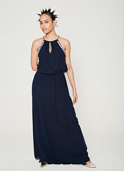 ZARA Navy Bohemian Halter Dress Front View