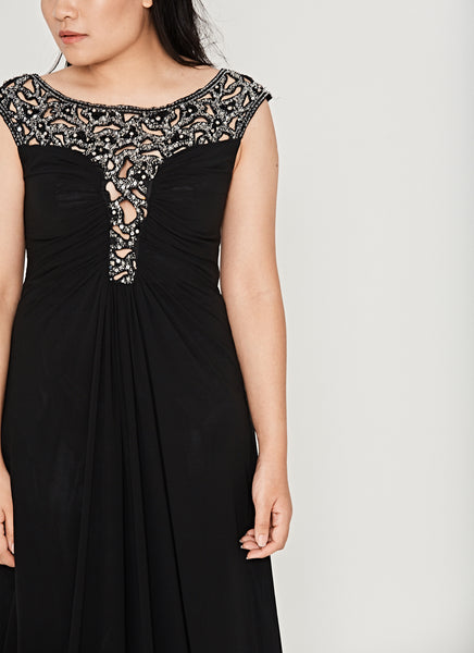 Plunging Illusion Jeweled Evening Dress