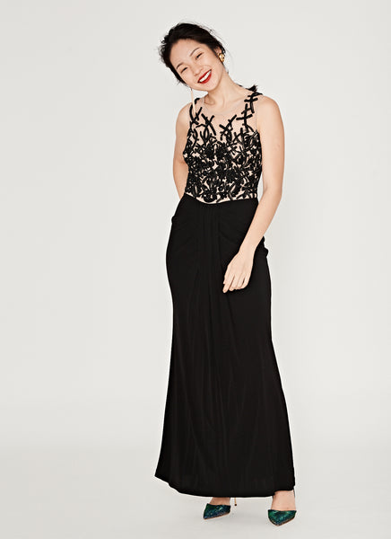Sleeveless Embroidered Sequin Bodice Gown