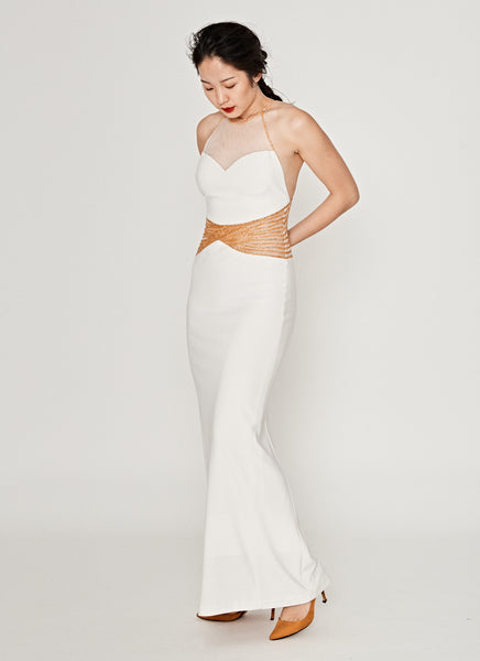 Ivory and Gold Halter-neck Gown