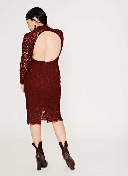 Maroon Marvel Backless Dress