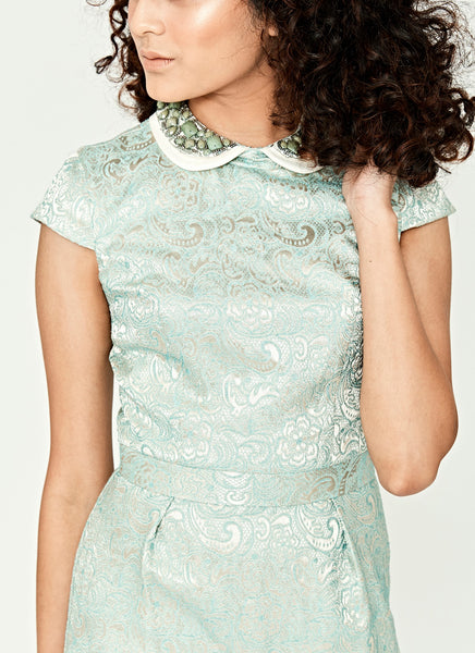 Jacquard Embellished Collar Short Dress