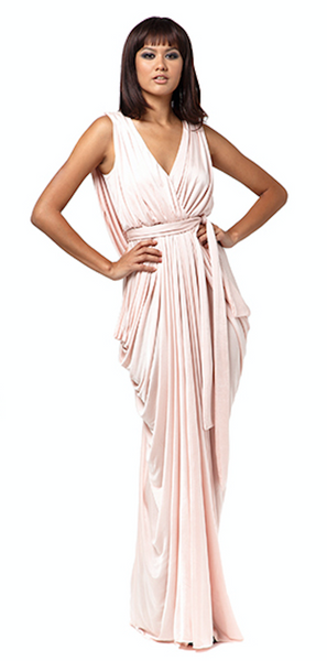 Grecian Maxi Dress (Soft Pink)