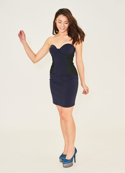 Navy & Green Strapless Bustier Dress
