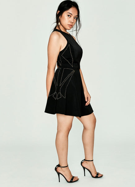 Sleeveless Black Skater Dress with Beading