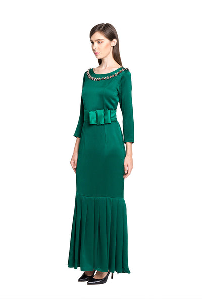 Alexa Bow Gown in Green