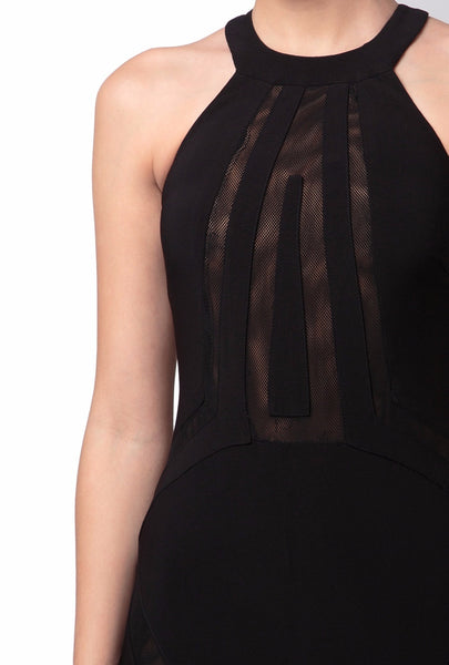 Black Halter-Neck Cut Out Dress
