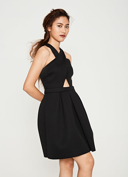 Cross Neck Neoprene Dress