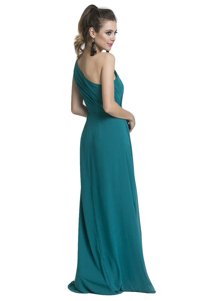 One Shoulder Chiffon Gown with Sash