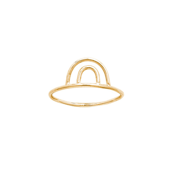 14K GOLD DOUBLE ARC RING