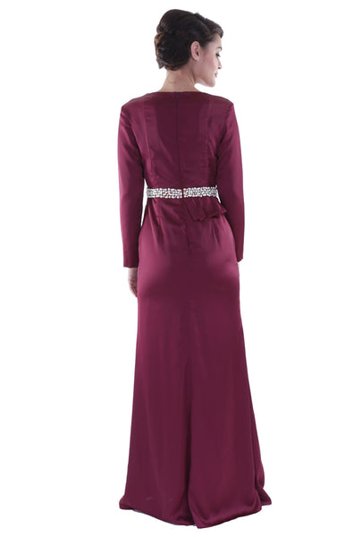 Maroon Peplum Long-Sleeved Maxi
