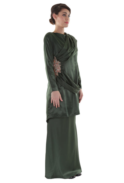 Green Draped Baju Kurung Set