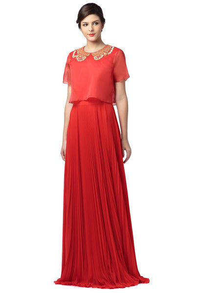 Necklace Collar Silk Blend Gown