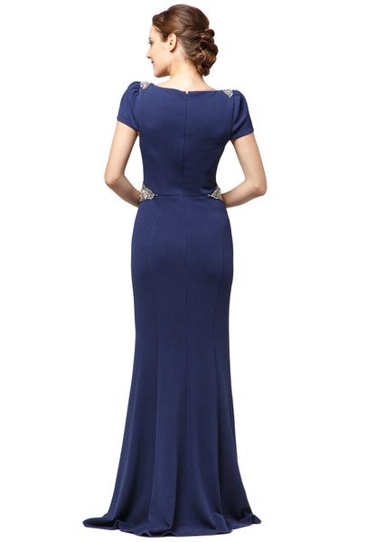 Navy Embellished Long Dress