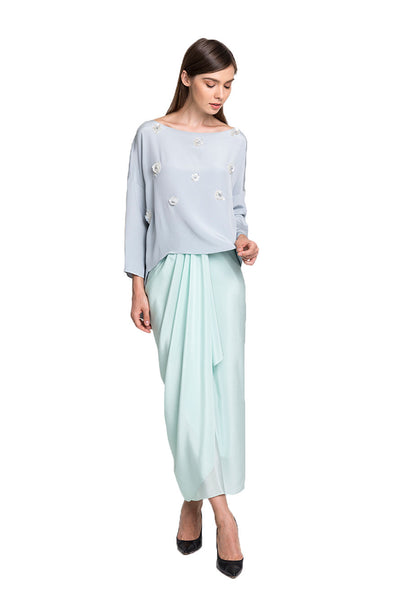 Dusty Blue Kedah Top with Green Silk Sarong