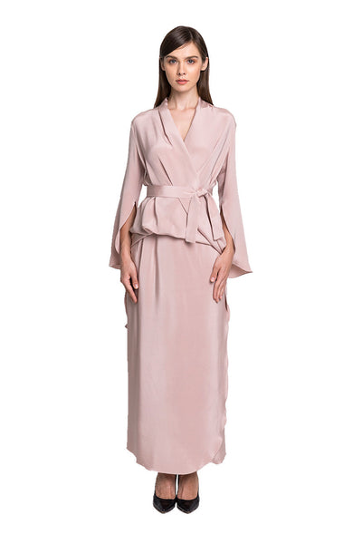 Nude Reverse-Wrap Top and Sarong