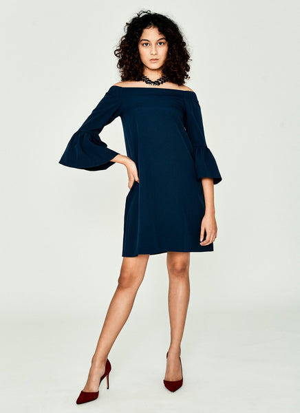 Degrayso Off-Shoulder Dress (Navy)
