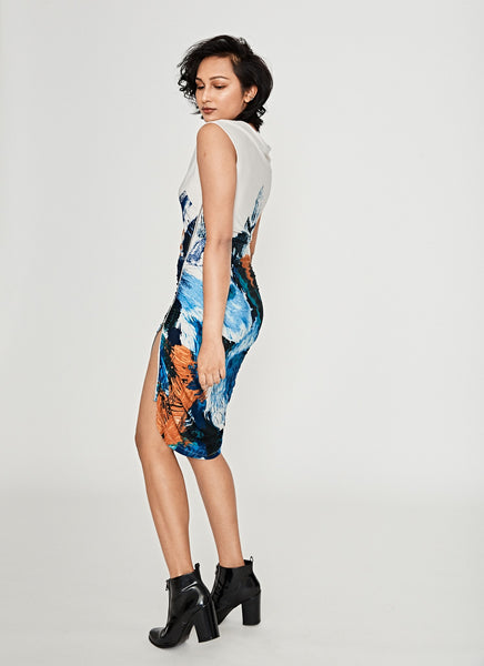 Cap Sleeve Printed Dress With Zipper