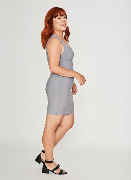 Grey Sleeveless Bandage Dress