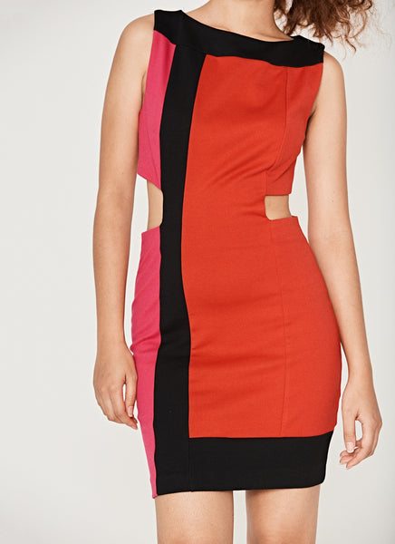 Colour Block Cut Out Dress