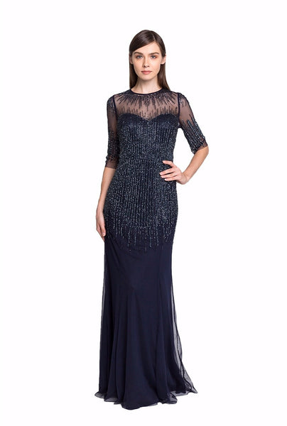 Navy Beaded Illusion Gown
