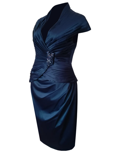 Navy Blue Statement Dress -Long